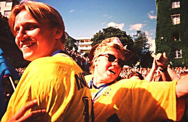 Tomas Brolin vid hemkomsten efter VM 1994