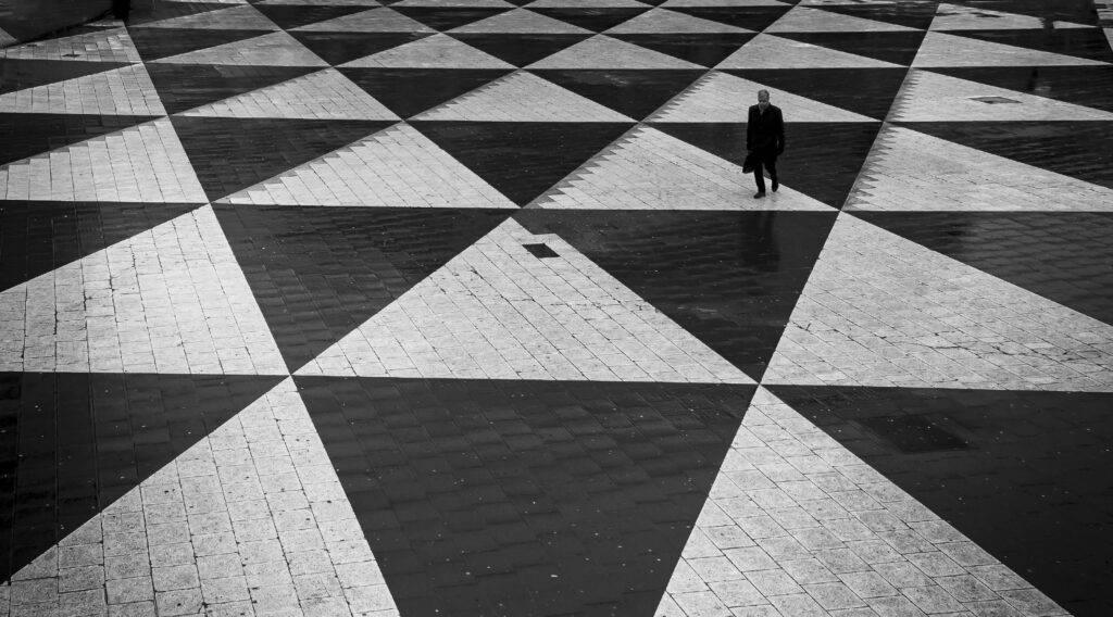 Plattan vid Sergelstorg, svartvitt