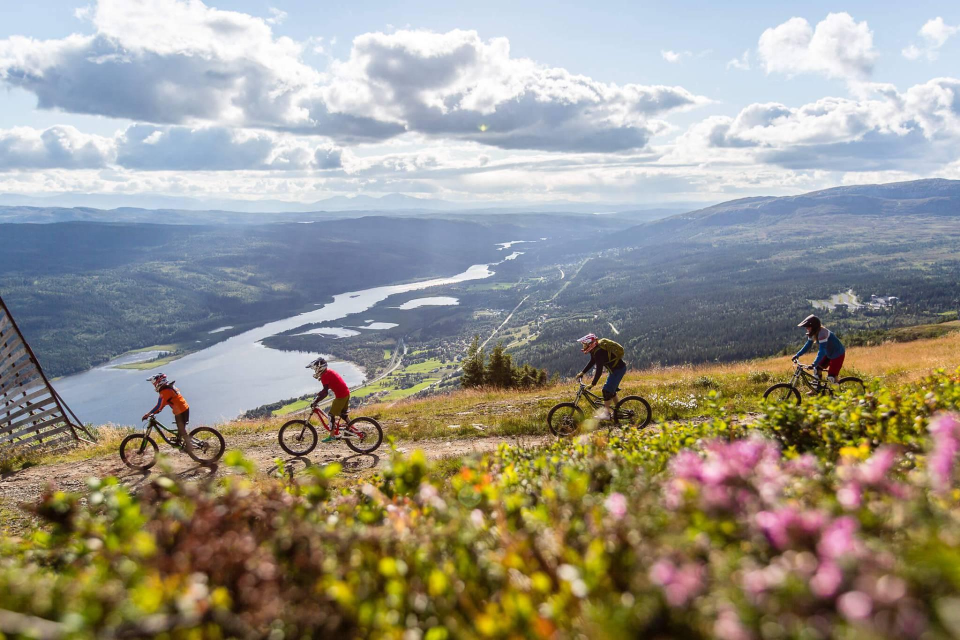 cyklister längs med fjället