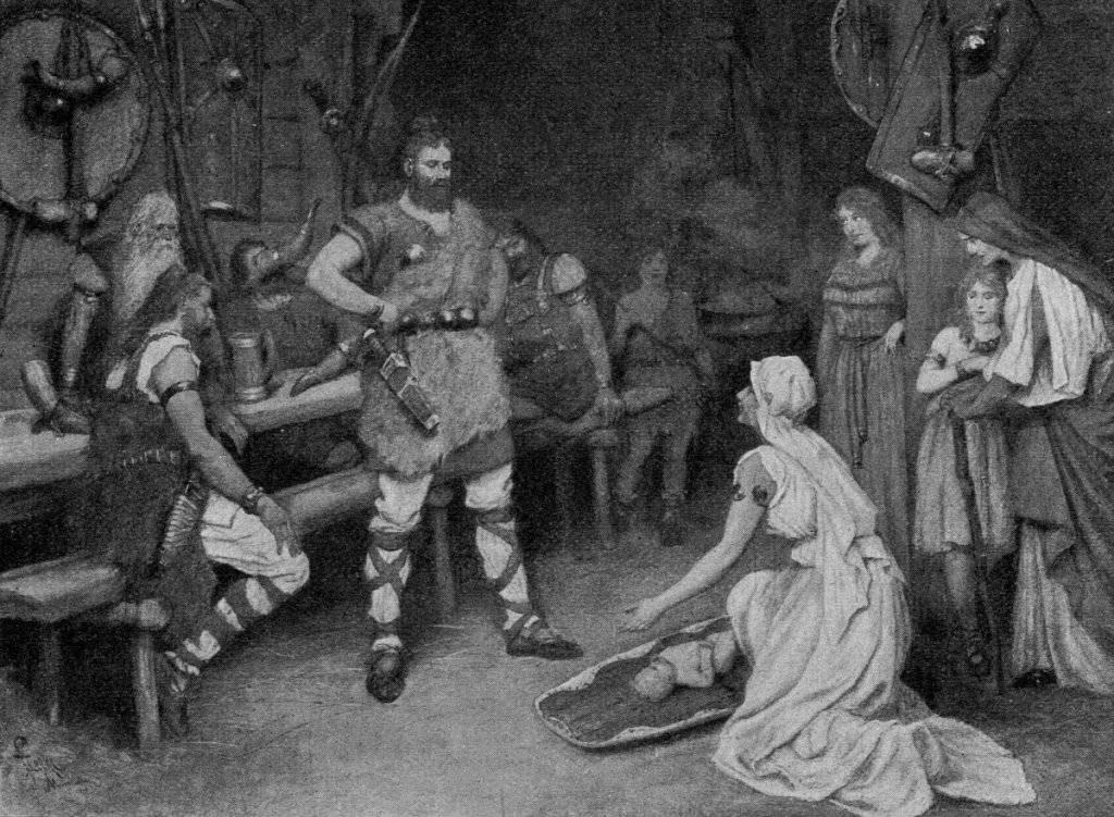 Romantisk bild från förra sekelskiftet av en germansk namngivningsceremoni.