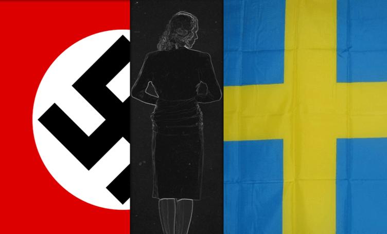 Nazistsymbol till vänster, bild av en kvinna i mitten, svenska flaggan till höger